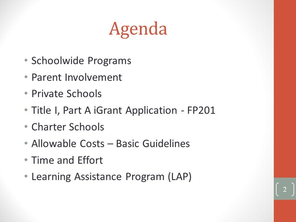 Agenda Schoolwide Programs Parent Involvement Private Schools