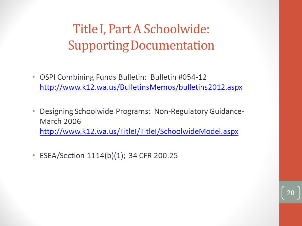 Title I, Part A Schoolwide: Supporting Documentation