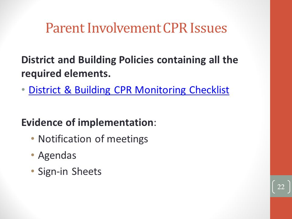 Parent Involvement CPR Issues