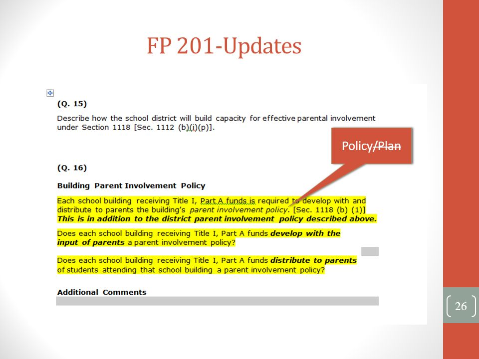 FP 201-Updates Policy/Plan