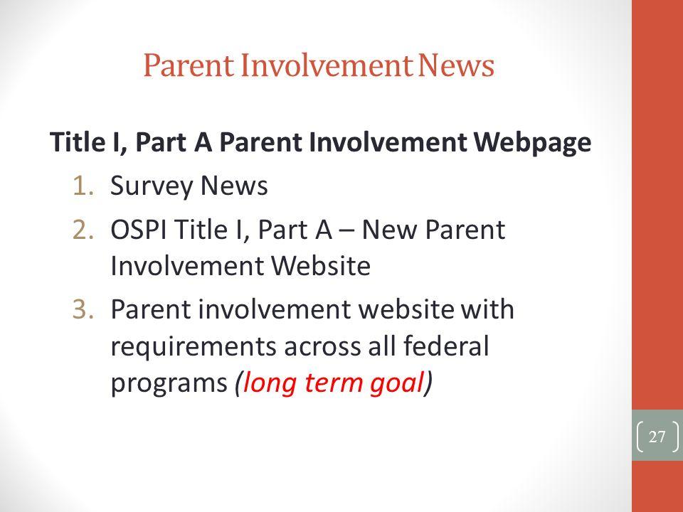 Parent Involvement News