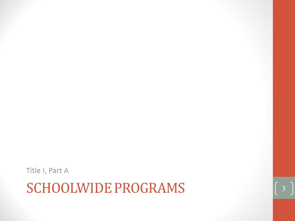 Title I, Part A Schoolwide programs
