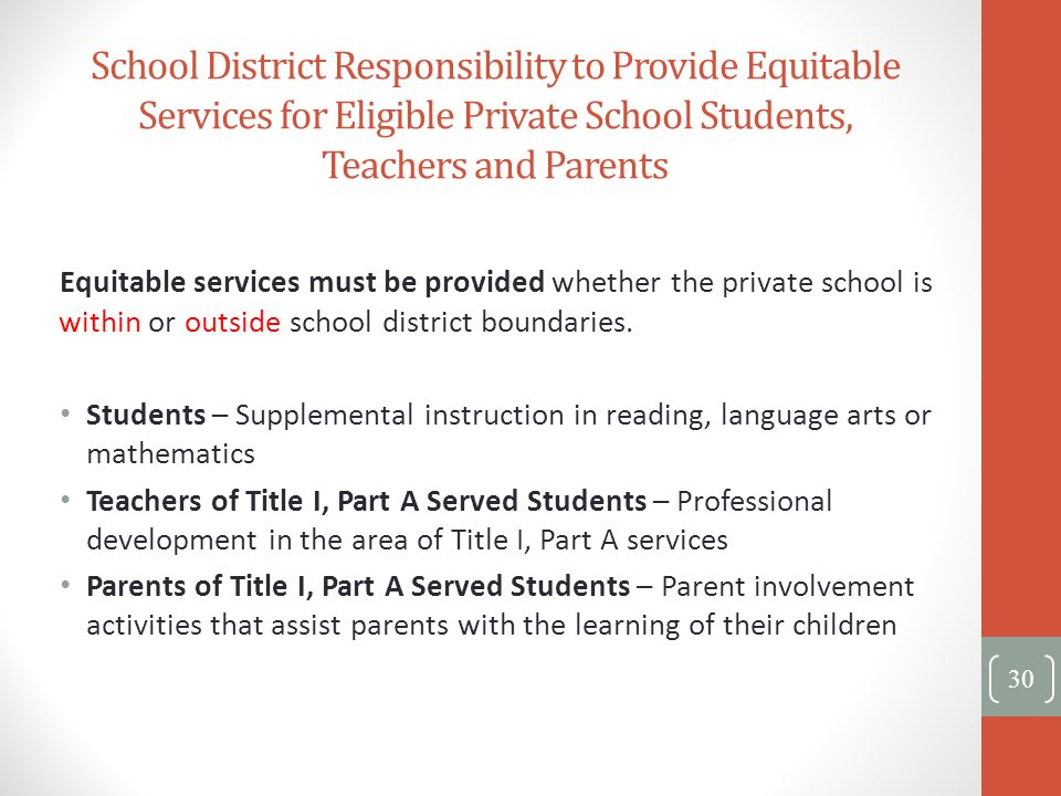 School District Responsibility to Provide Equitable Services for Eligible Private School Students, Teachers and Parents