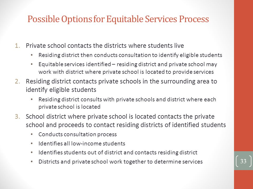 Possible Options for Equitable Services Process