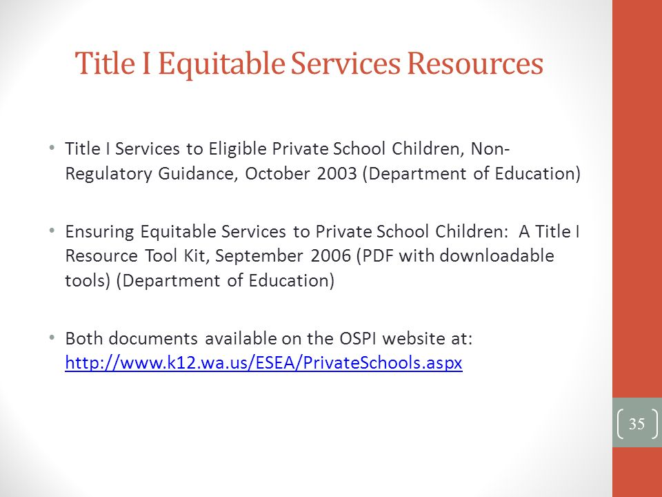 Title I Equitable Services Resources