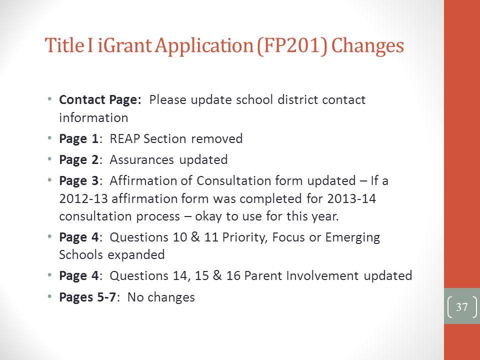 Title I iGrant Application (FP201) Changes
