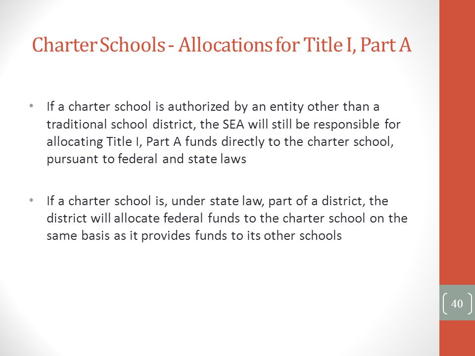 Charter Schools - Allocations for Title I, Part A