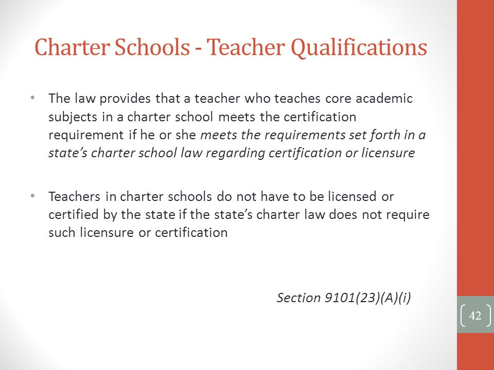 Charter Schools - Teacher Qualifications