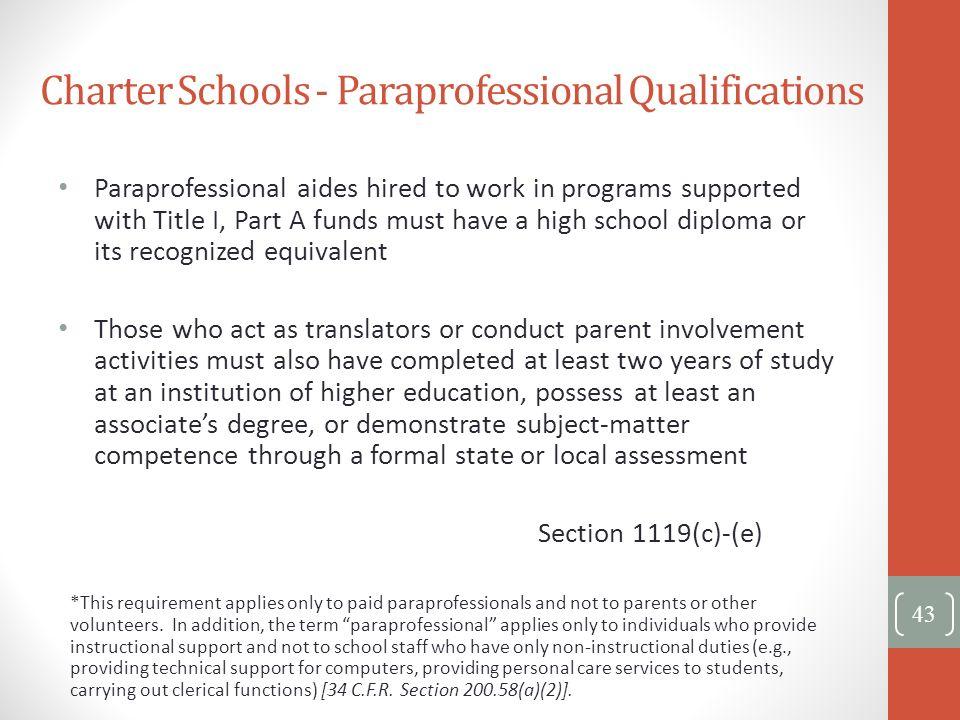 Charter Schools - Paraprofessional Qualifications