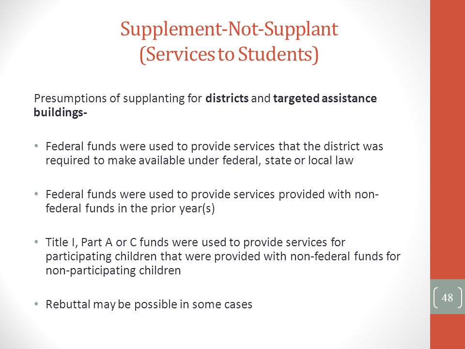 Supplement-Not-Supplant (Services to Students)