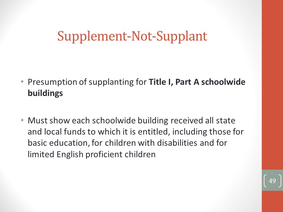 Supplement-Not-Supplant