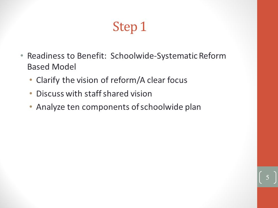 Step 1 Readiness to Benefit: Schoolwide-Systematic Reform Based Model