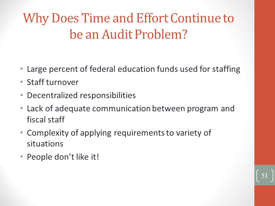 Why Does Time and Effort Continue to be an Audit Problem