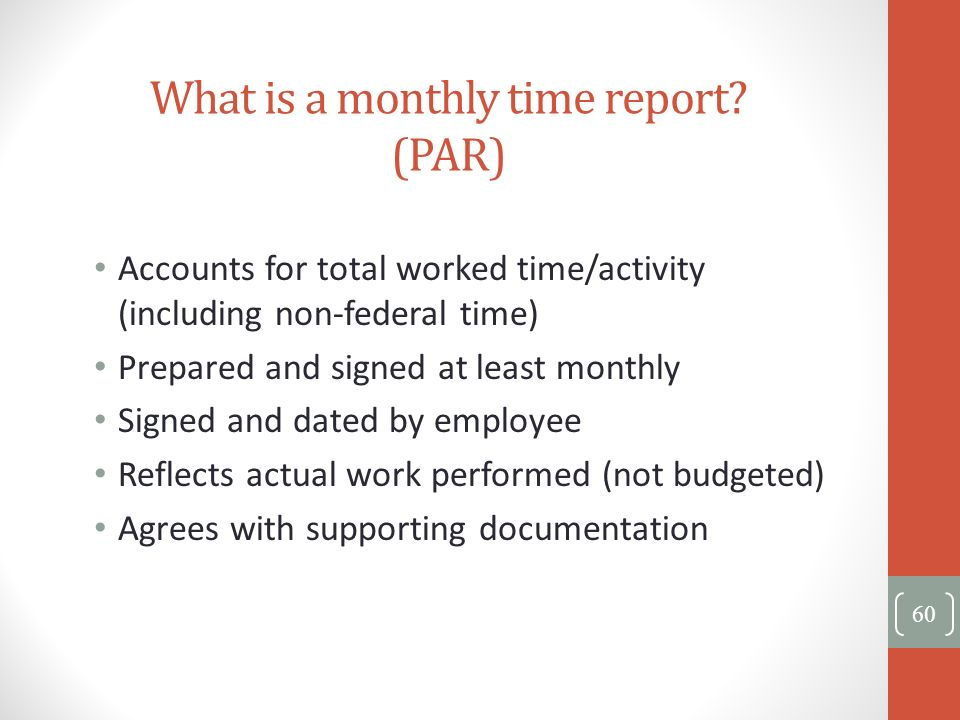 What is a monthly time report (PAR)