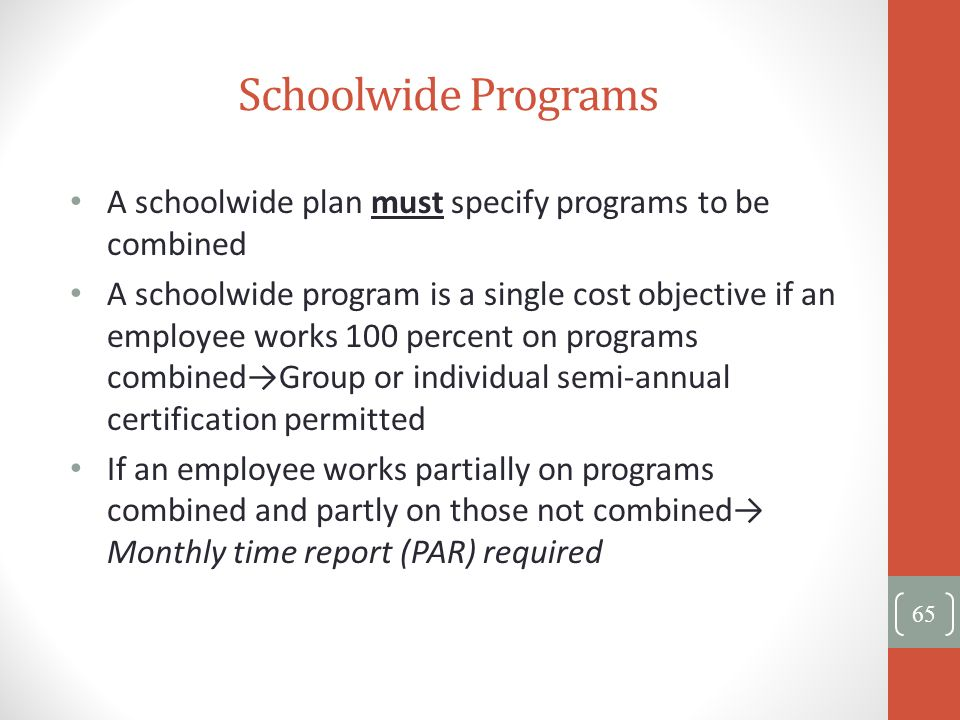 Schoolwide Programs A schoolwide plan must specify programs to be combined.