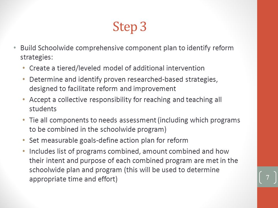 Step 3 Build Schoolwide comprehensive component plan to identify reform strategies: Create a tiered/leveled model of additional intervention.