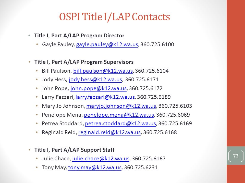 OSPI Title I/LAP Contacts