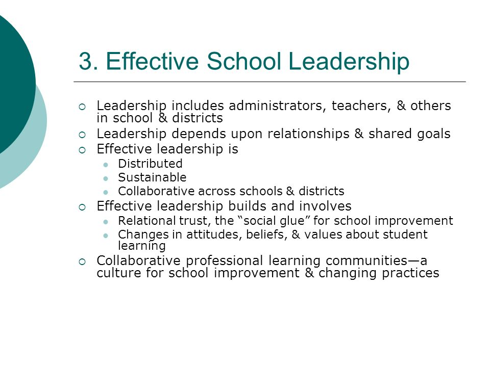 3. Effective School Leadership