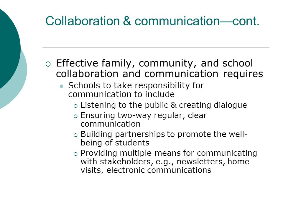 Collaboration & communication—cont.