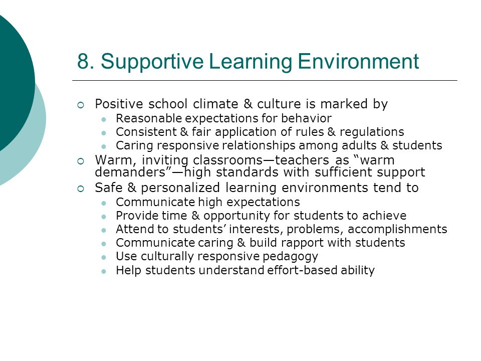 8. Supportive Learning Environment