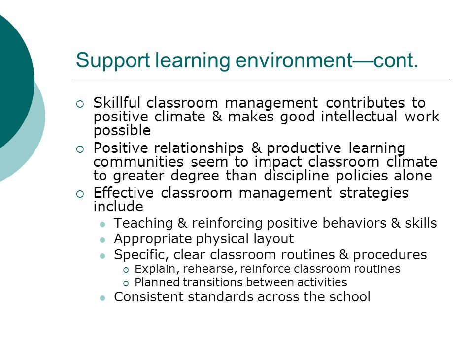 Support learning environment—cont.