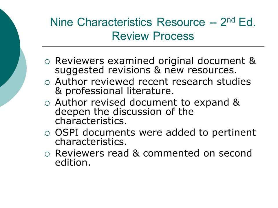 Nine Characteristics Resource -- 2nd Ed. Review Process