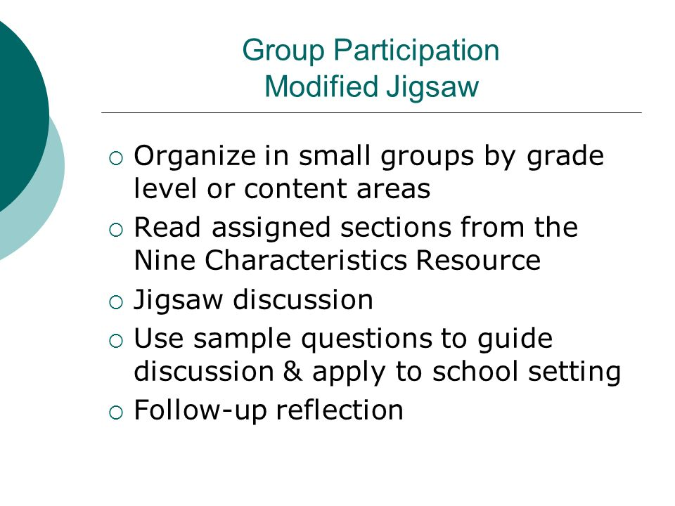 Group Participation Modified Jigsaw