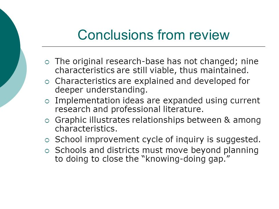 Conclusions from review