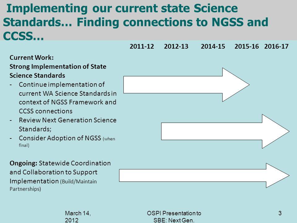 OSPI Presentation to SBE: Next Gen. Science