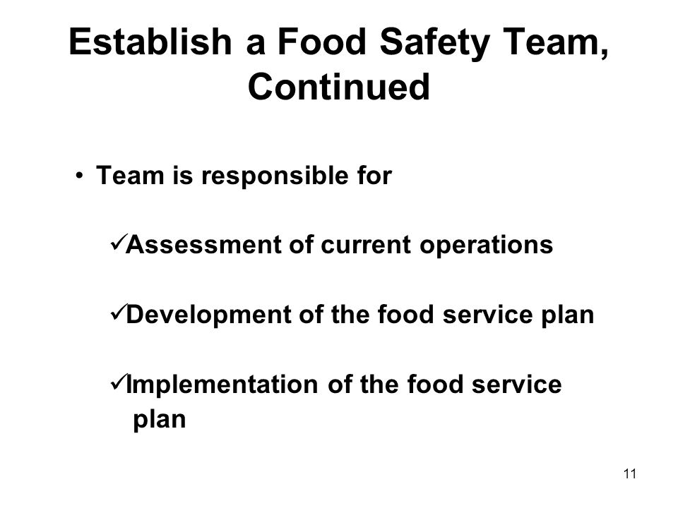 Establish a Food Safety Team, Continued