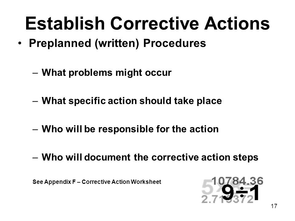 Establish Corrective Actions
