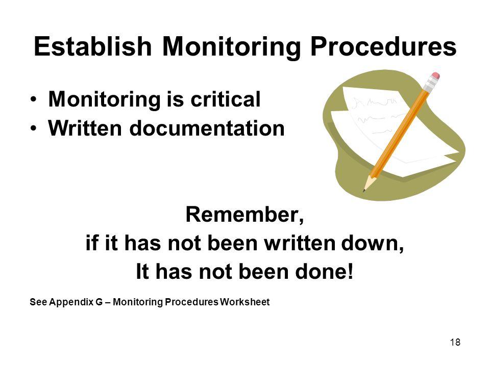 Establish Monitoring Procedures