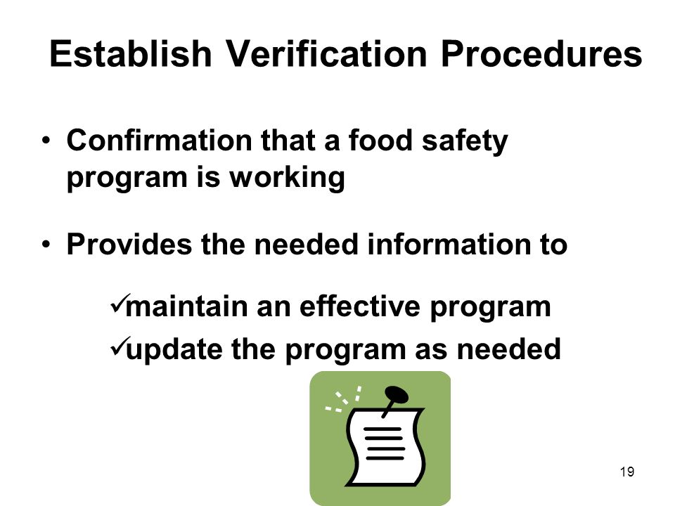 Establish Verification Procedures