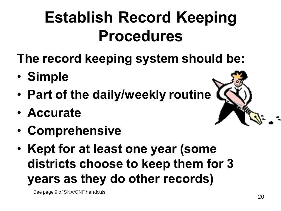 Establish Record Keeping Procedures