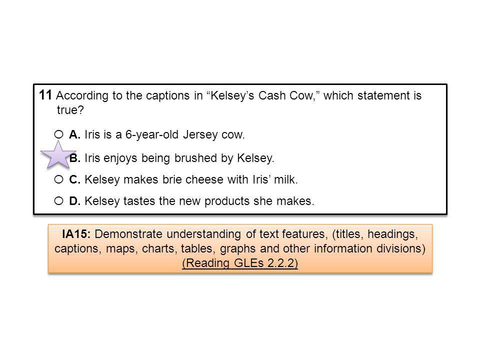 11 According to the captions in Kelsey's Cash Cow, which statement is true