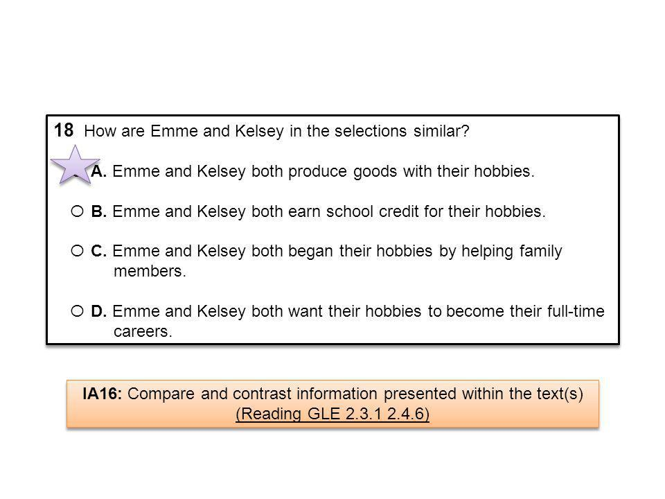 18 How are Emme and Kelsey in the selections similar