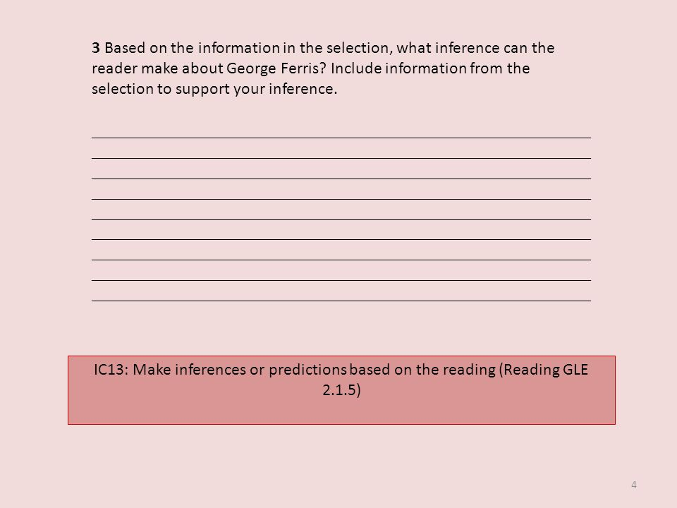 3 Based on the information in the selection, what inference can the reader make about George Ferris Include information from the selection to support your inference.