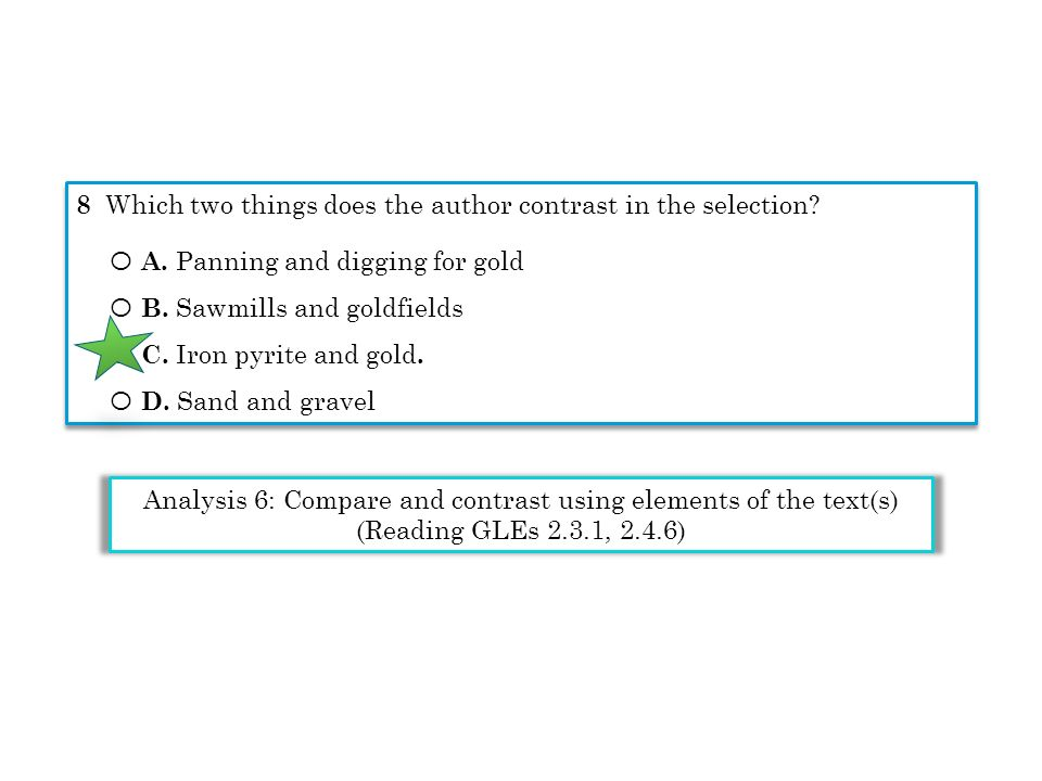 Analysis 6: Compare and contrast using elements of the text(s)