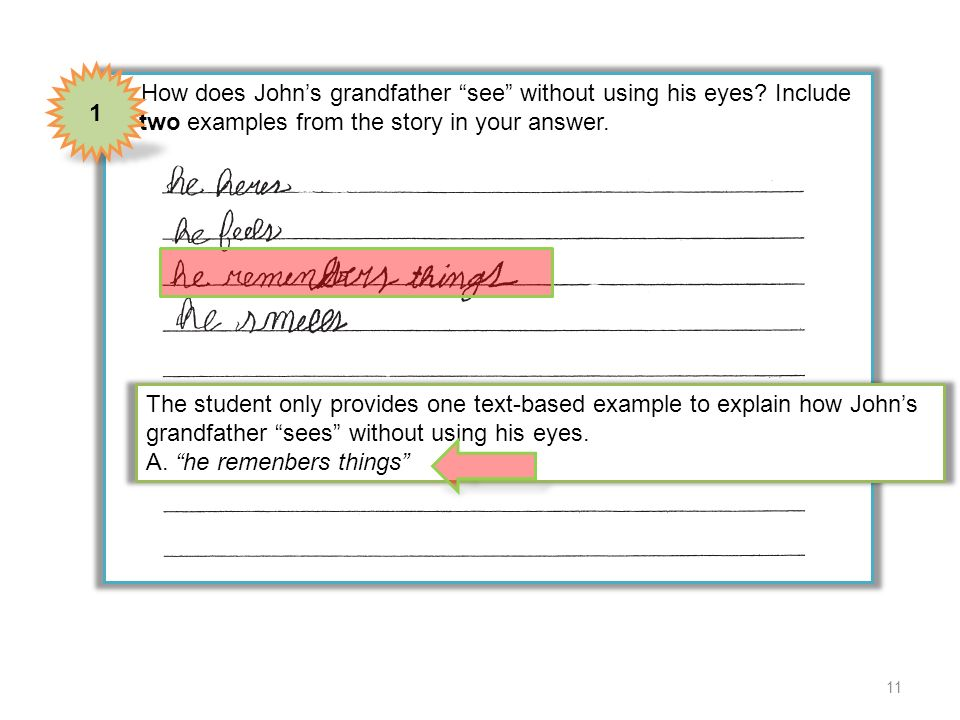 1 4 How does John's grandfather see without using his eyes Include two examples from the story in your answer.