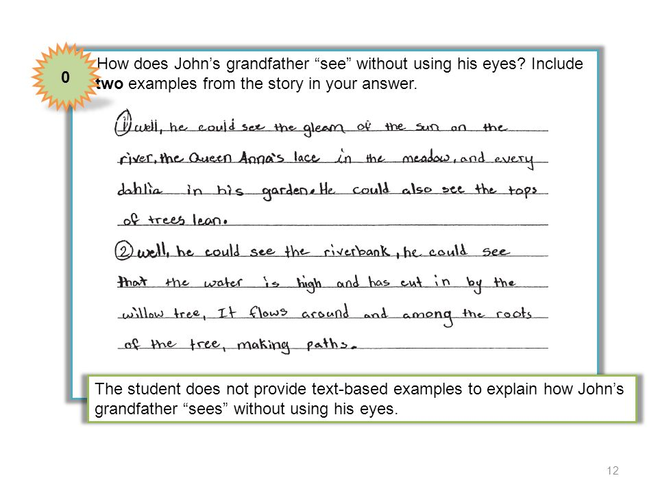 4 How does John's grandfather see without using his eyes Include two examples from the story in your answer.