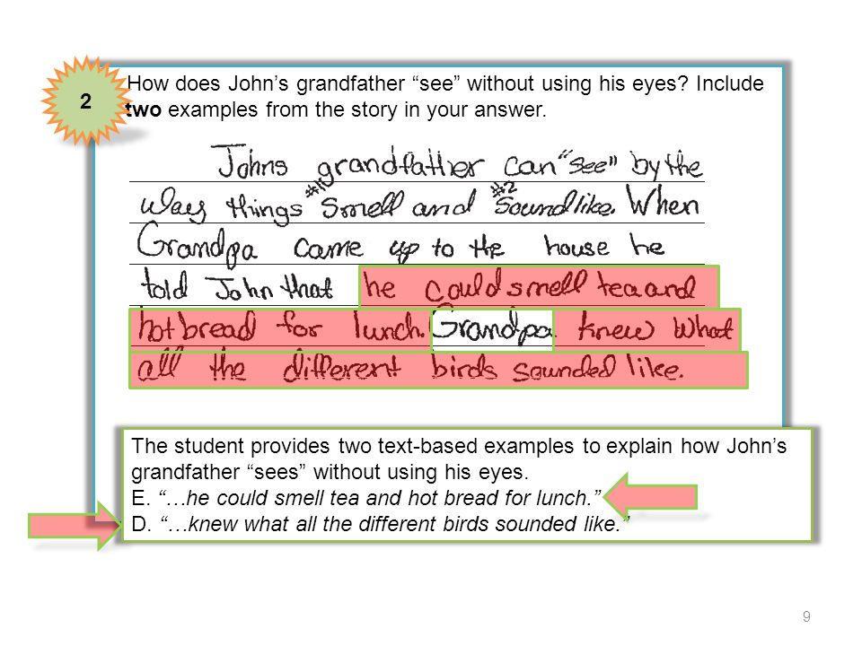 2 4 How does John's grandfather see without using his eyes Include two examples from the story in your answer.