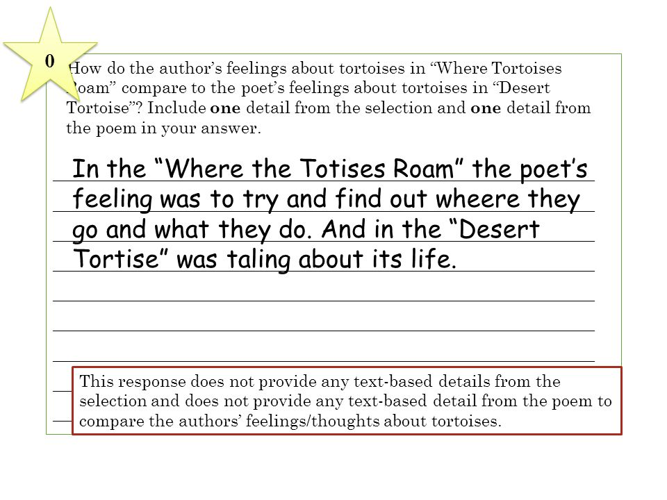 6 How do the author's feelings about tortoises in Where Tortoises Roam compare to the poet's feelings about tortoises in Desert Tortoise Include one detail from the selection and one detail from the poem in your answer.