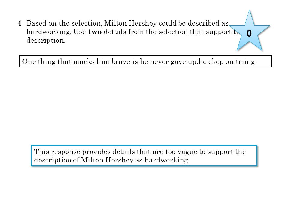 4 Based on the selection, Milton Hershey could be described as hardworking. Use two details from the selection that support this description.