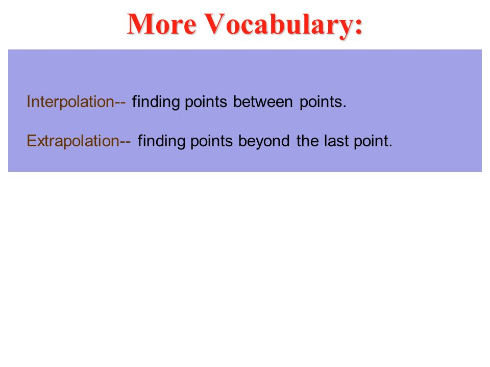 More Vocabulary: Interpolation-- finding points between points.