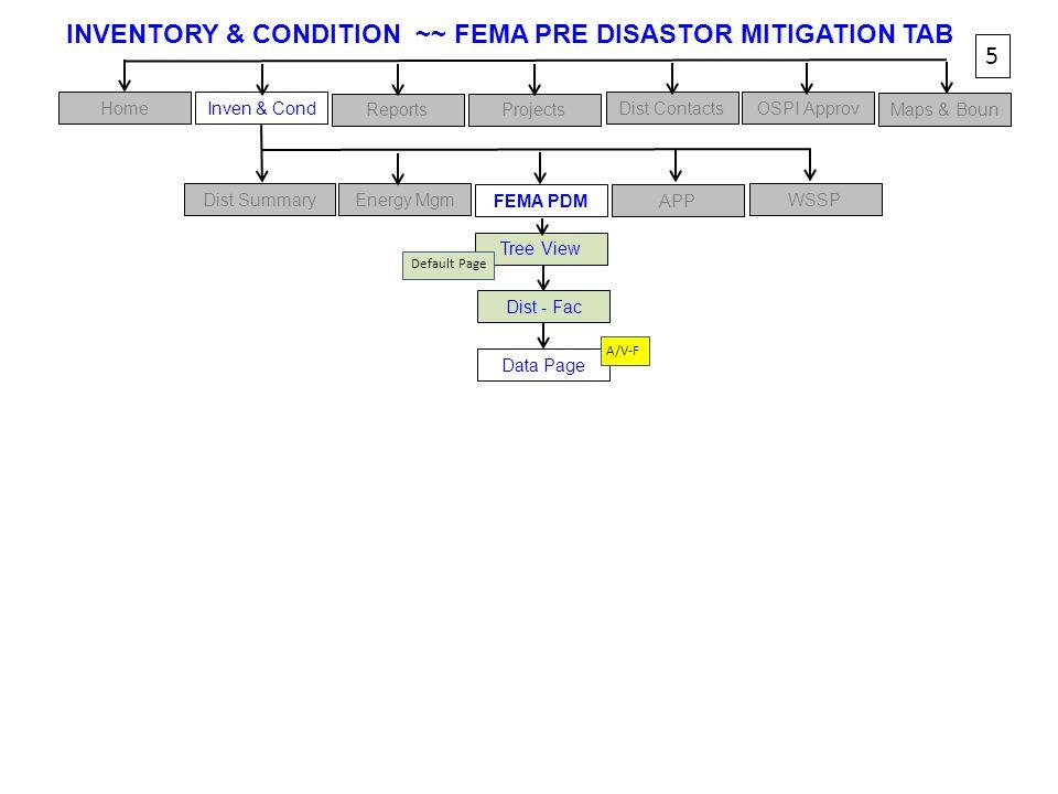 INVENTORY & CONDITION ~~ FEMA PRE DISASTOR MITIGATION TAB