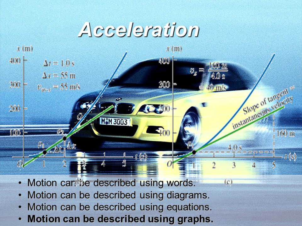 Acceleration Motion can be described using words.