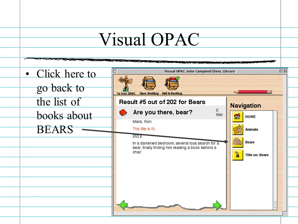 Visual OPAC Click here to go back to the list of books about BEARS
