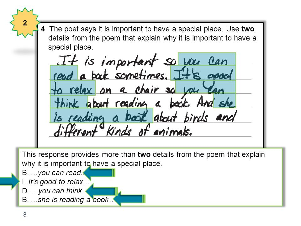 2 4 The poet says it is important to have a special place. Use two. details from the poem that explain why it is important to have a.