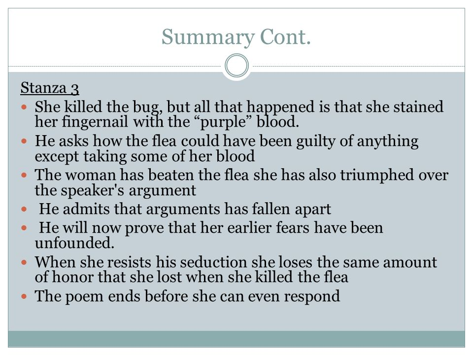 the flea by john donne poem analysis ppt video online  6 summary cont