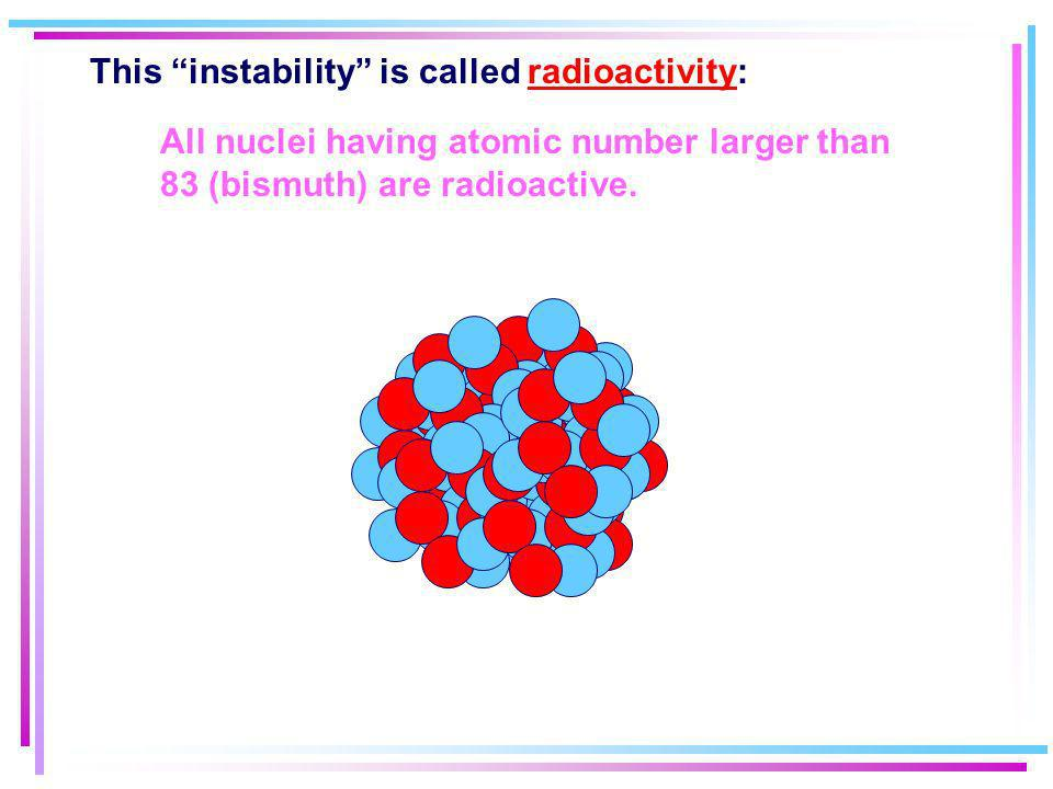 This instability is called radioactivity:
